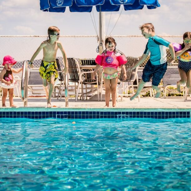Lake Hopatcong, Yacht Club Kids Jumping in pool